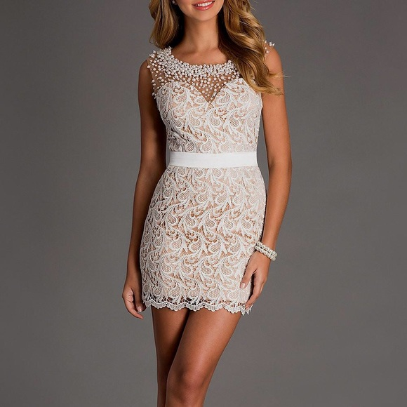 Ivory Lace Short Cocktail Dress